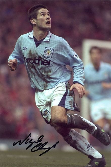 Nigel Clough, Manchester City, signed 12x8 inch photo.